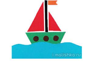 Аппликация «Кораблик» из цветной бумаги: поэтапная инструкция с фото