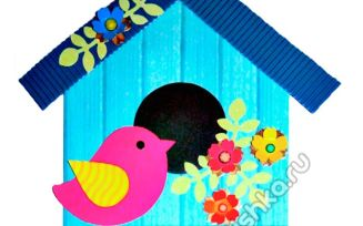 Аппликация Скворечник из цветной бумаги: поэтапная инструкция с фото