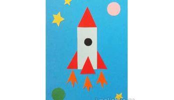 Аппликация Ракета из цветной бумаги: поэтапная инструкция с фото