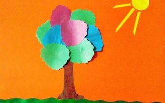Объёмная аппликация дерева из цветной бумаги: поэтапная инструкция с фото