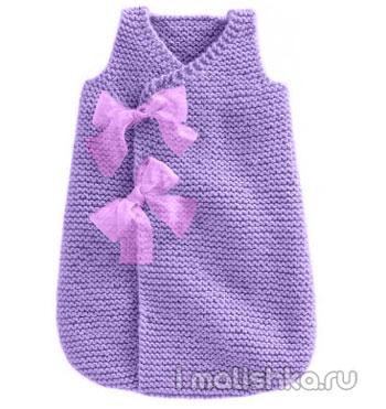 Спальный мешок для новорожденных вяжем спицами и крючком
